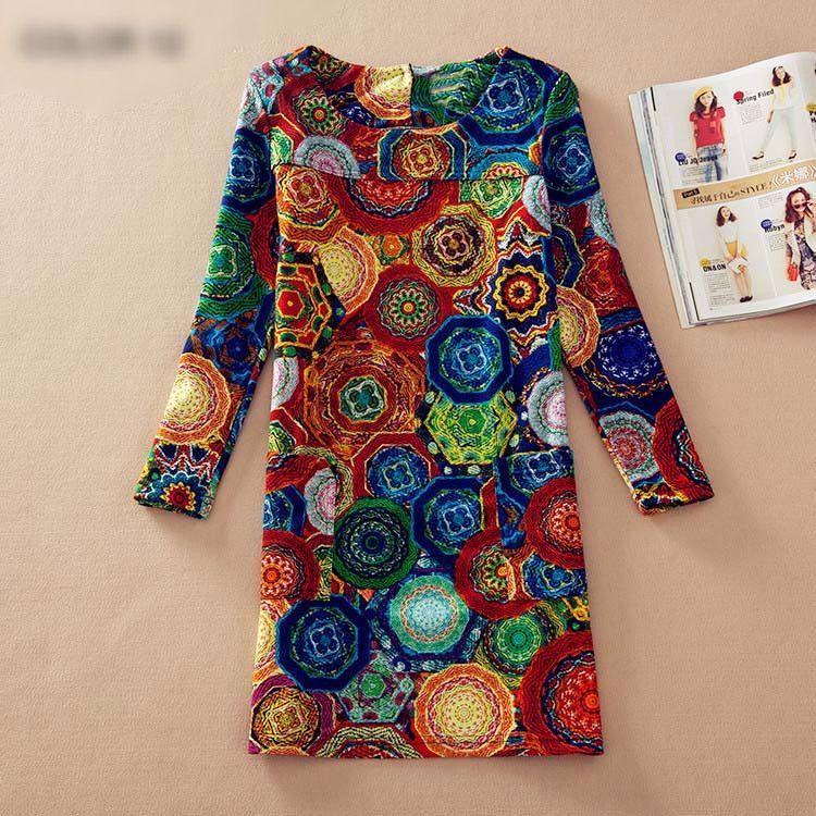Spring Fall Fashion Long Sleeve Casual Flower Print Dress