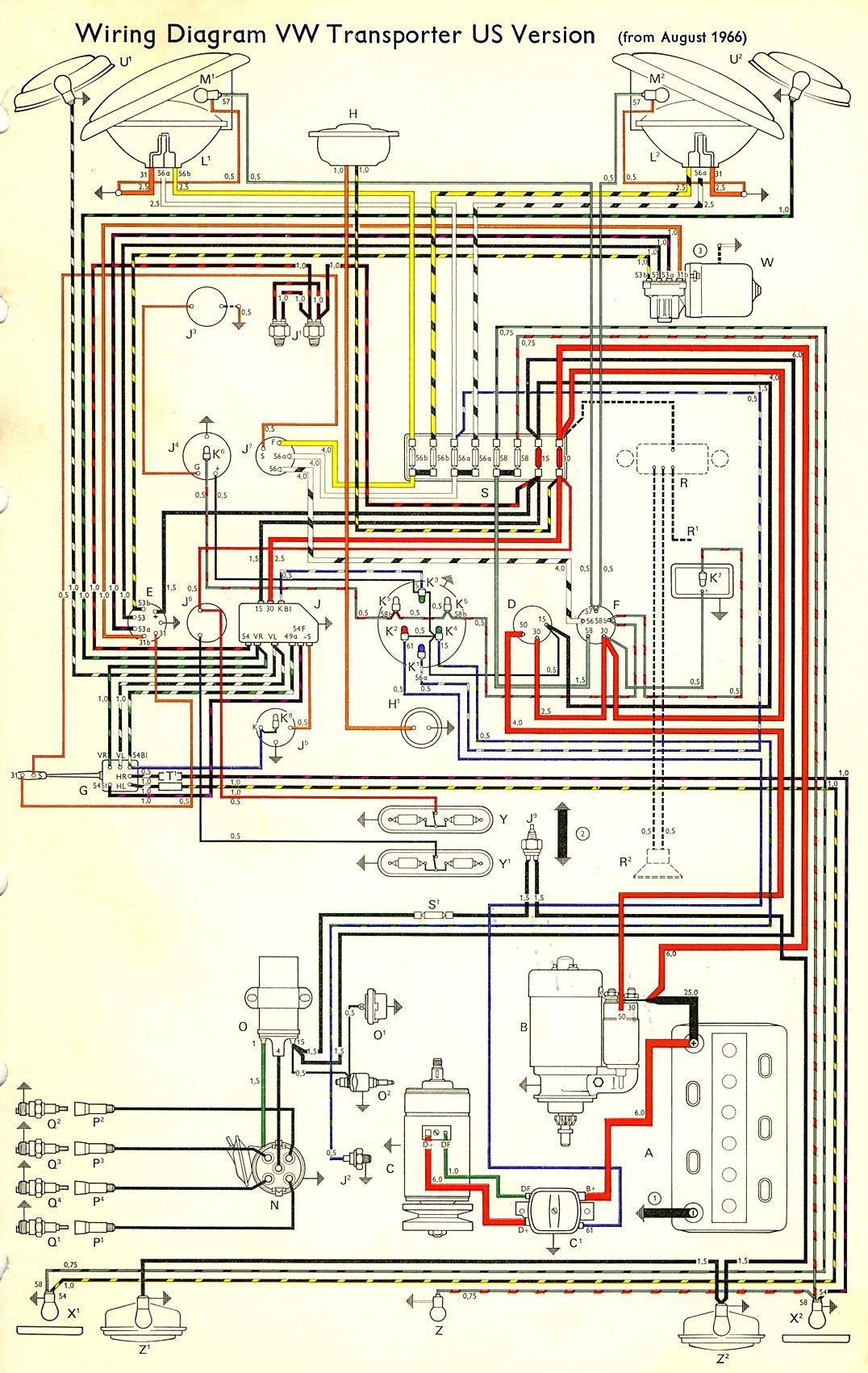 Thesamba Type 2 Wiring Diagrams In 2020 Circuit Diagram Electrical Circuit Diagram Vw Vanagon