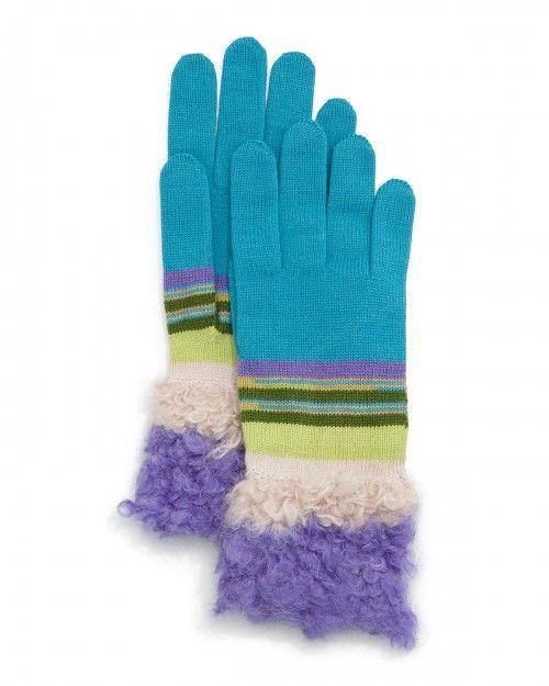 Missoni Fuzzy Striped Knit Gloves Orange Pink   Accessory