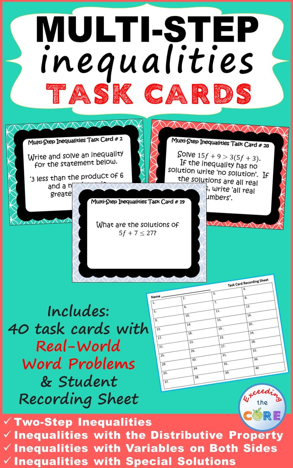 Multi Step Inequalities Task Cards Includes 40 Task Cards A Student Answer Sheet And Answer Key Topics Task Cards Multi Step Inequalities Math Assessment