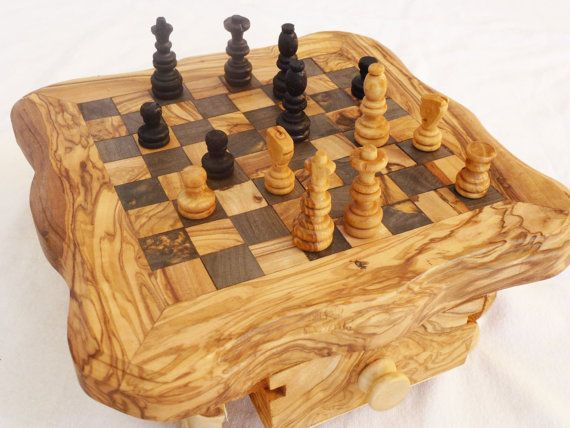 Olive Wood Small Chess Board, Custom Engraved Monogrammed Chess Board Set,  Birthday Gift,