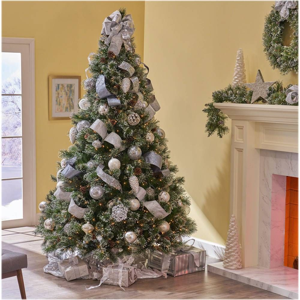 Noble House 9 Cashmere And Mixed Spruce Pre Lit Artificial Christmas Tree With Snowy Branches And Pinecones Green Clear Lights 307363 Best Buy Christmas Tree Inspiration White Christmas Tree Decorations