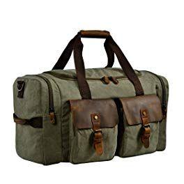 fb3727c52 Kopack Travel Duffel Bag W Shoe Pocket Genuine Leather Mens Weekender Bag  Canvas Khaki/Grey/Army Green 22