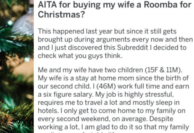 Guy Buys Wife A Roomba For Christmas, It Backfires