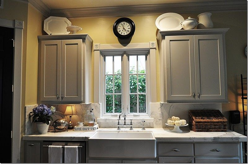 Ok Love This Kitchen Even Better The Gray And Yellow 2gether I Would Distress Cabinets A Bit More Though