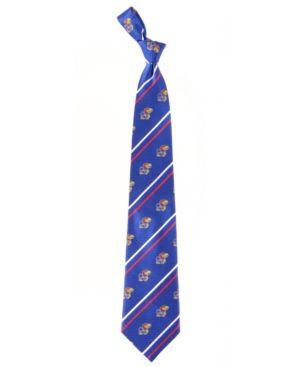 Eagles Wings Kansas Jayhawks Striped Silk Tie - RoyalBlue