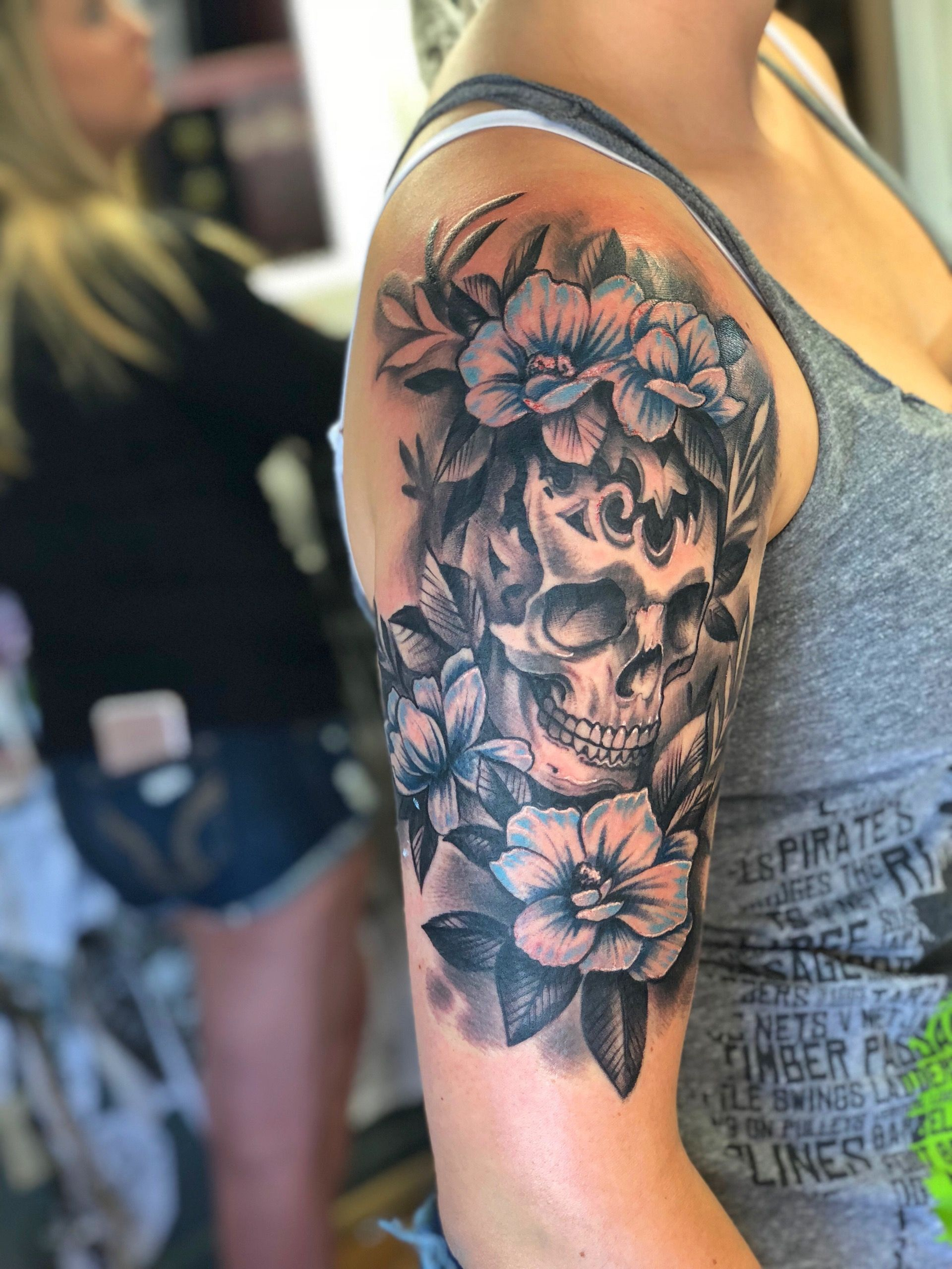 My Half Sleeve Girly Skull Tattoos Skull Sleeve Tattoos Tattoos For Women Half Sleeve