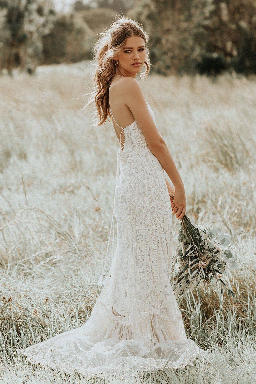 Cheap boho wedding dresses  Spell Bride Casablanca Lace Halter Gown  affordable Spell Designs