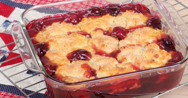 Old Fashioned Sweet Dark Cherry Cobbler
