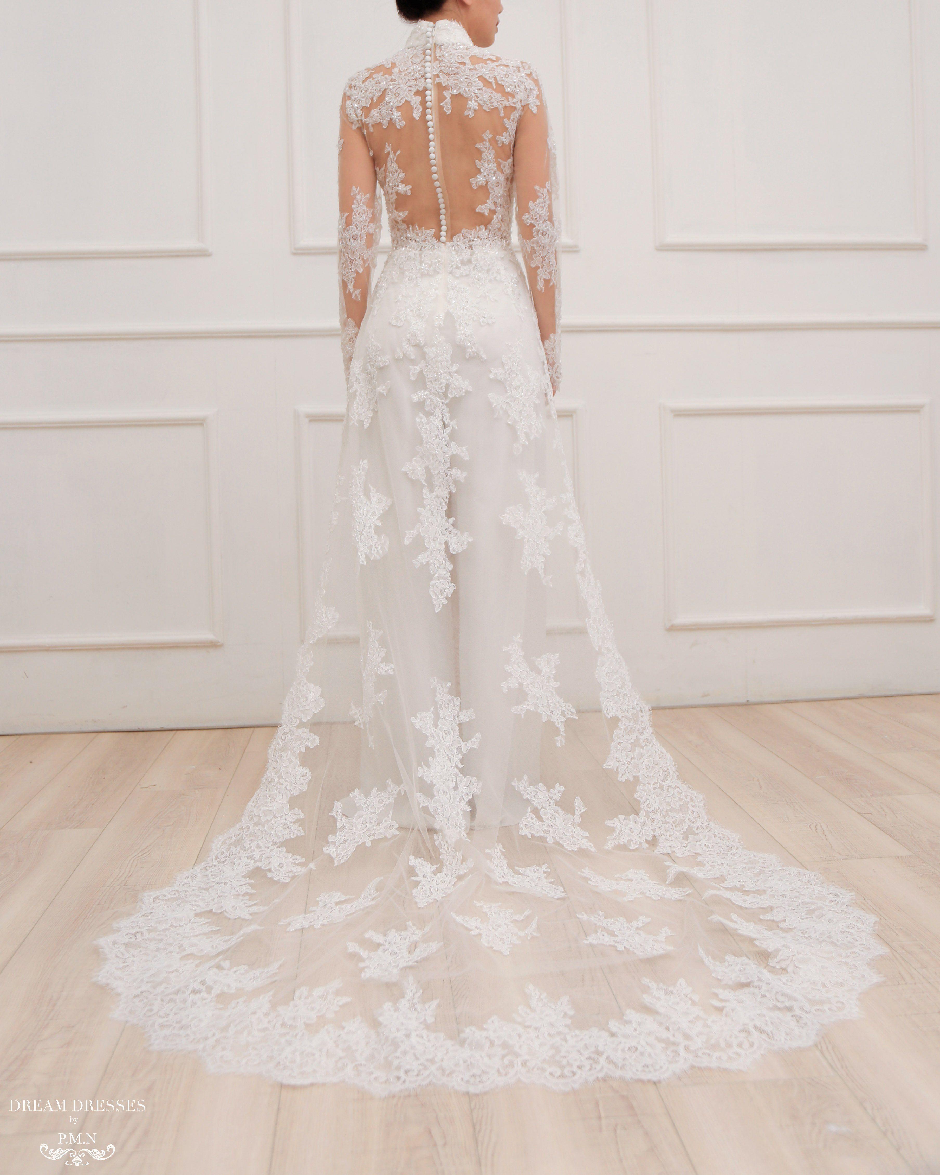 White Ao Dai Modern Vietnamese Lace Bridal Dress (