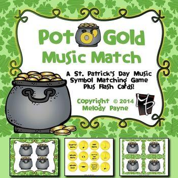 St Patricks Day Music Symbol Matching Game Pot O Gold Music