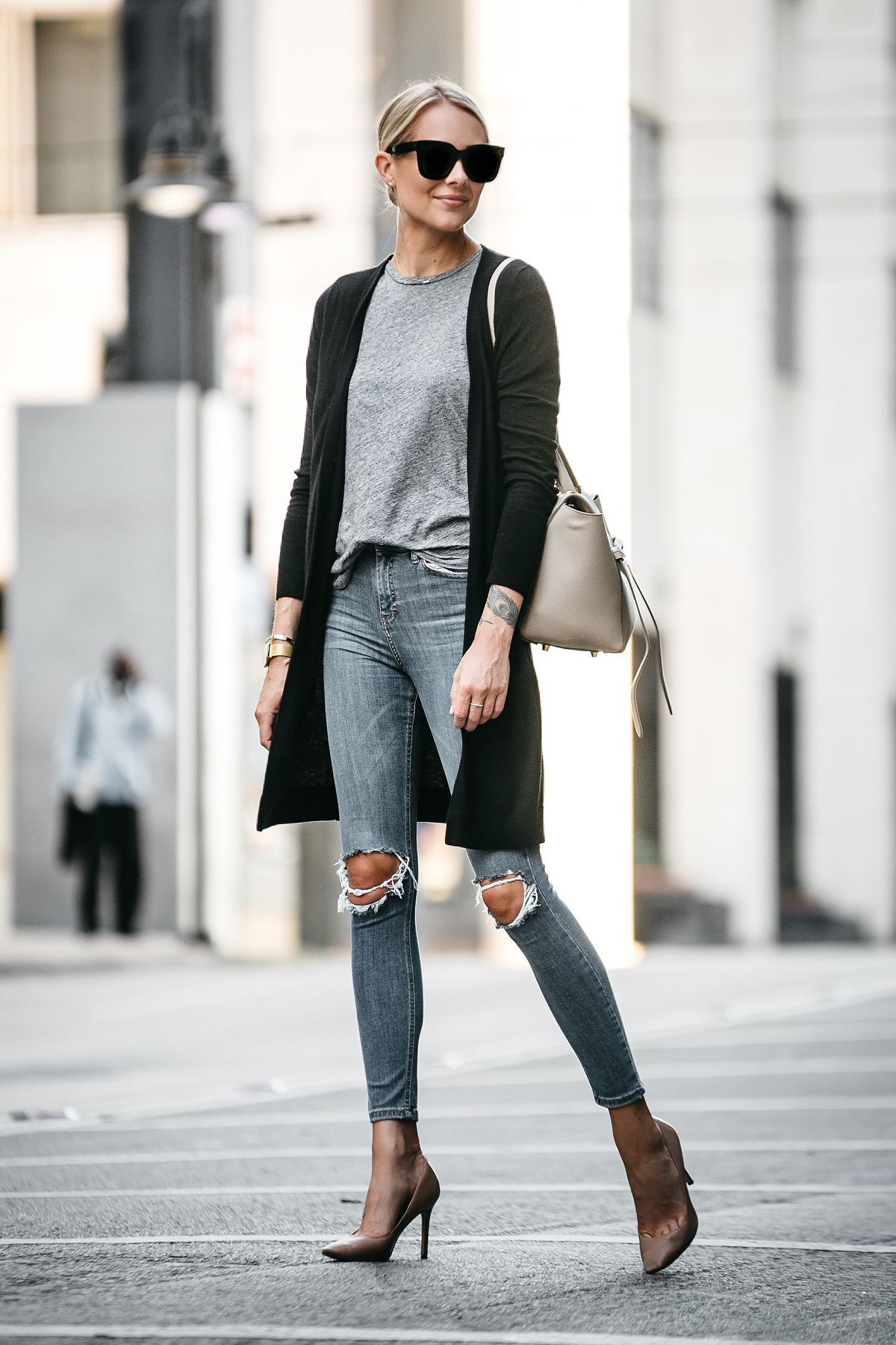 72445f5387 Blonde Woman Wearing Long Black Cardigan Grey Tshirt Topshop Ripped Skinny  Jeans Nude Pumps Outfit Celine Belt Bag Fashion Jackson Dallas Blogger  Fashion ...