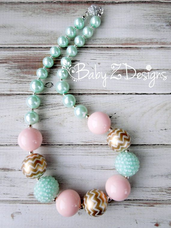 Mint Light Pink and Gold Chevron Chunky Necklace   by babyzdesigns