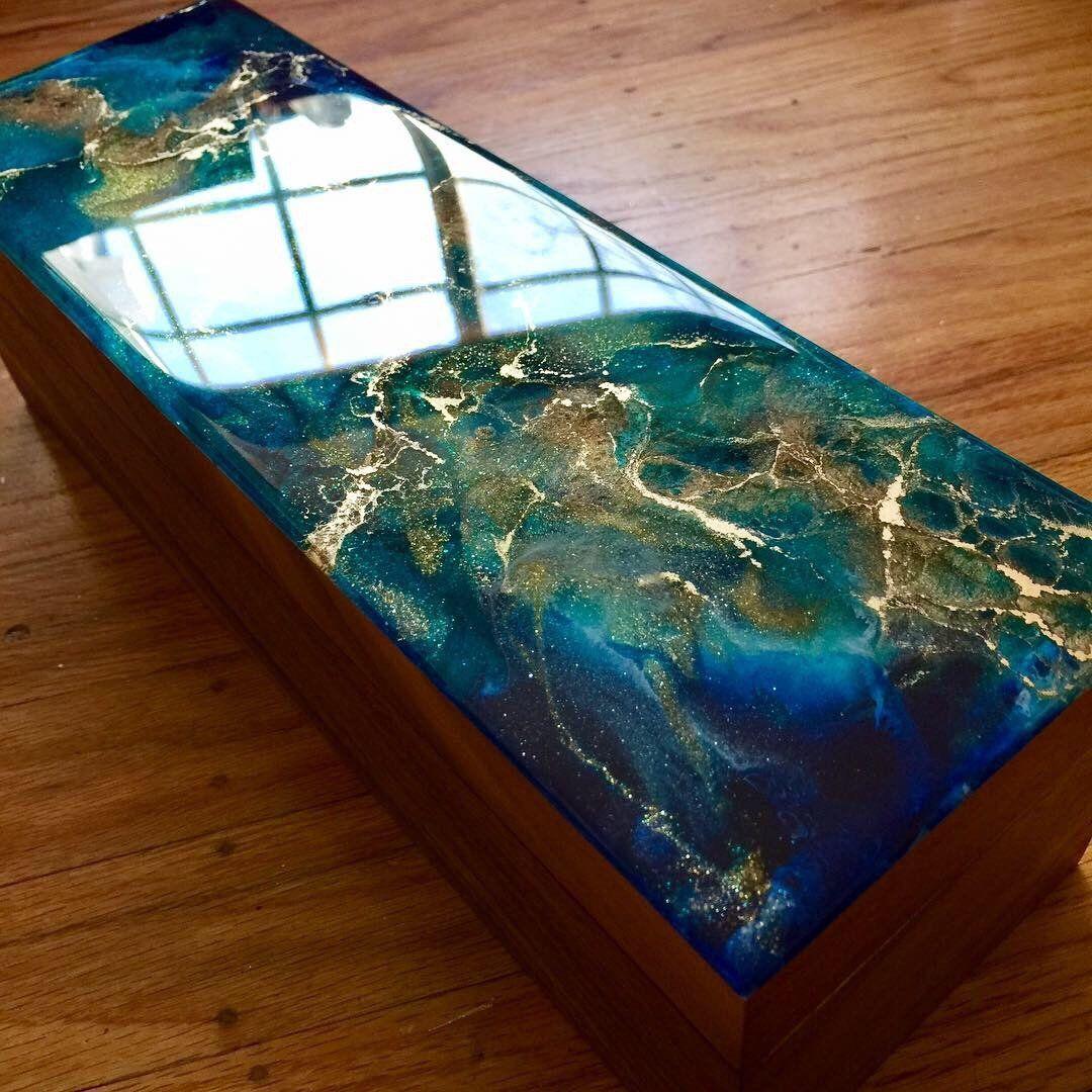 Hand painted acacia wood box functional art abstract art