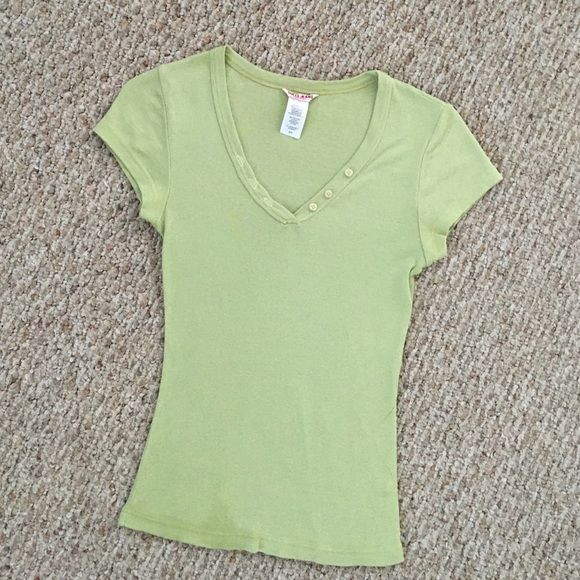 Vintage Guess Jeans Top NEW TO MY CLOSET.  Cute and comfy,  adorable button detail, lime color, perfect for summer.  One of my all-time favorite tees, but have now grown out of it.  Good condition.50/50 cotton-nylon. Guess Tops Tees - Short Sleeve