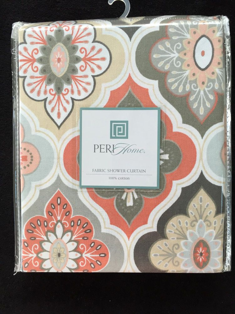 Peri -lilian tile - medallion peach coral grey tan fabric shower ...