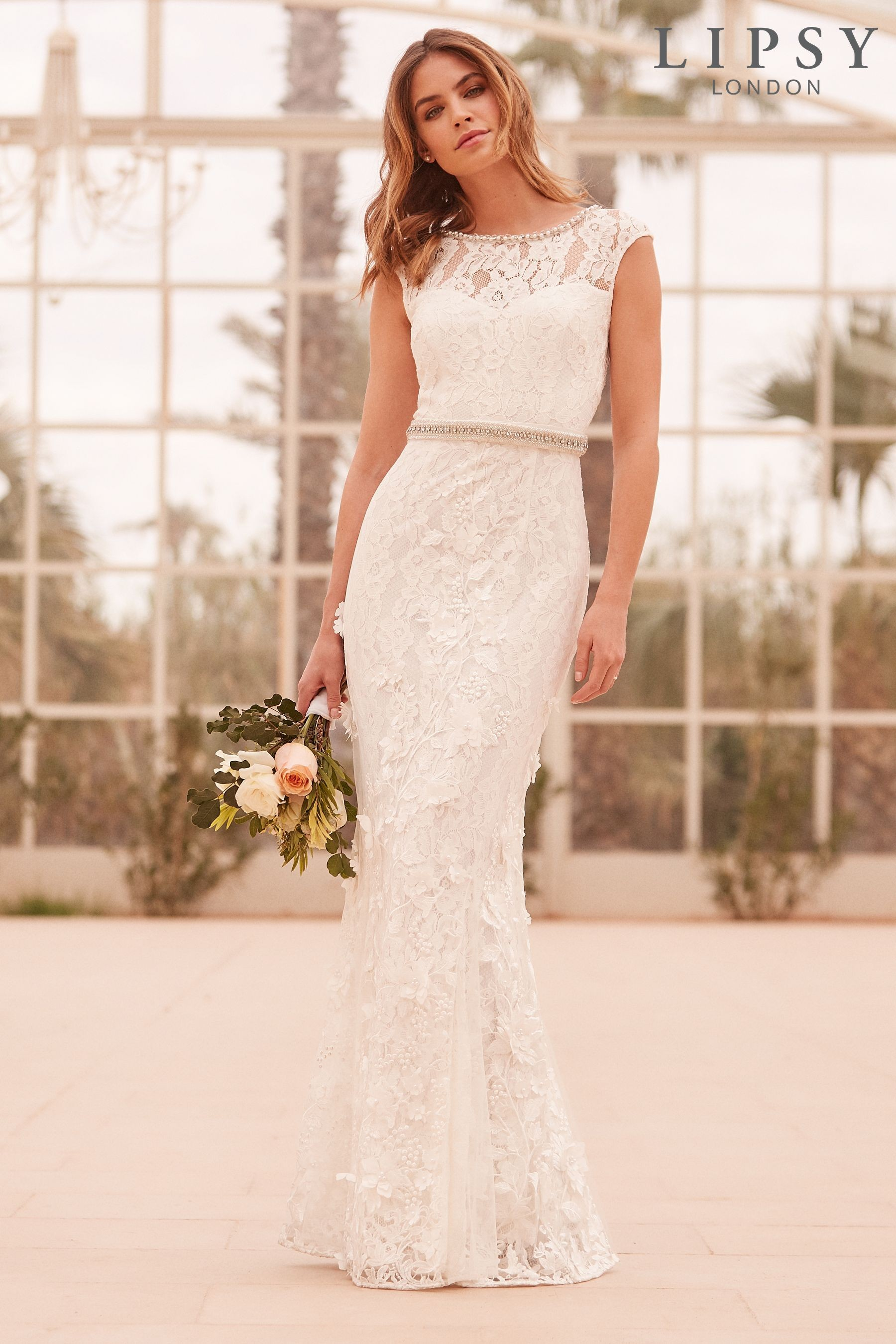 Lipsy bridal emily 3d flower lace embroidered maxi dress