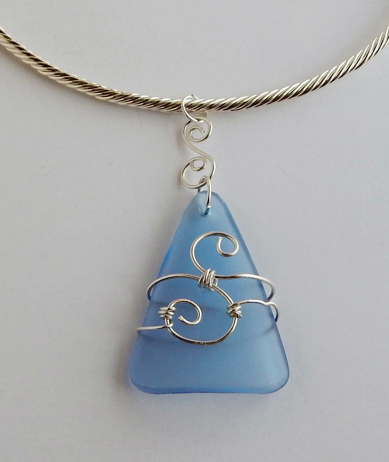 Wire Wrap Recycled Glass Pendant Celtic Design Necklace | Jewelry ...