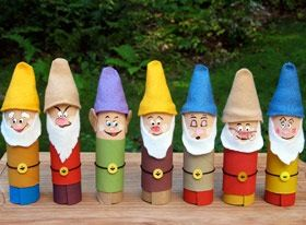 http://family.go.com/crafts/craft-600862-tissue-tube-dwarfs-t/ Materials: 11 Toilet tissue tubes, Craft Knife, Measuring Tape, Craft Paints & Paintbrushes, Pencils, Cotton Swabs, Fine-Tipped Markers, Felt (assorted colors including white & skin-tone), Scissors, Hot Glue Gun/Tacky Glue, 7 Small Yellow Buttons, Black Embroidery Floss/String Craft Wire (5 inch length)