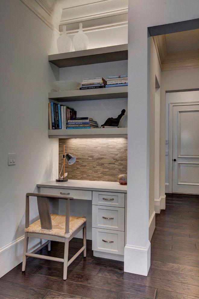 aesthetic shelves over desk decorating ideas in home office design ideas with aesthetic beige tile backsplash builtin desk desk lamp u2026