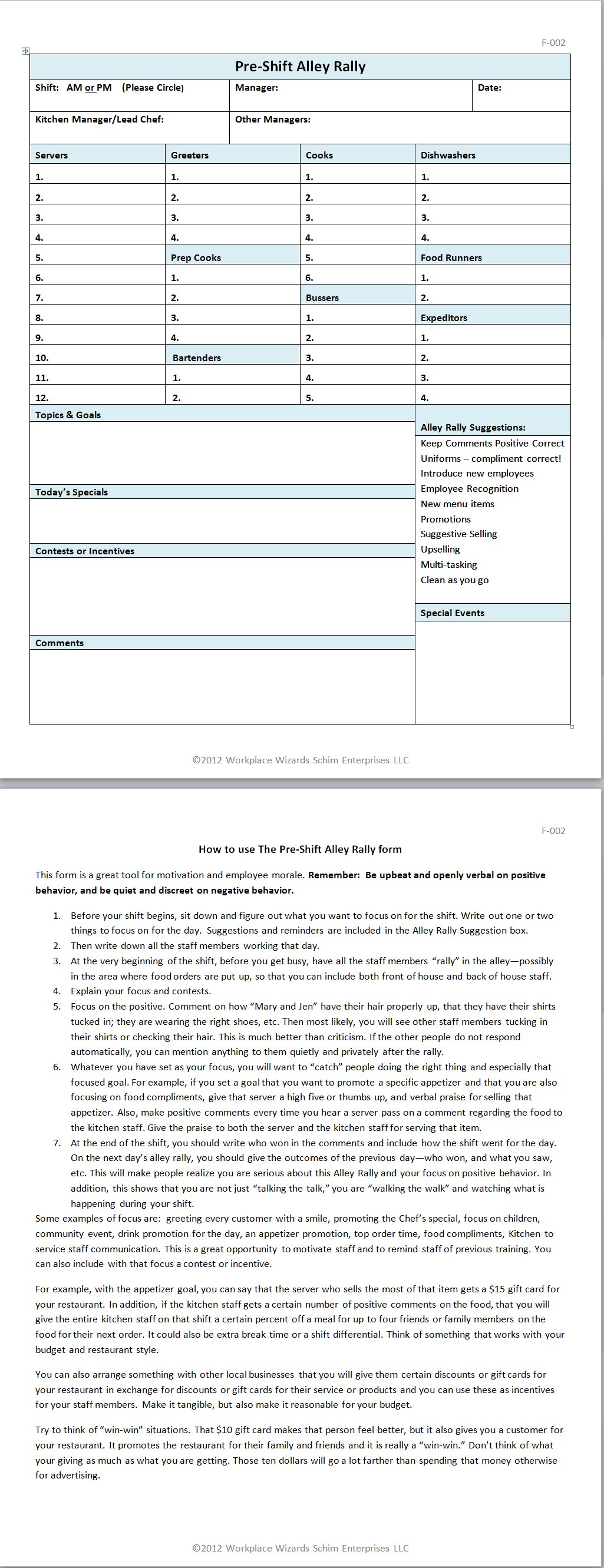 Restaurant Server Side Work Checklist Template  Good Reads