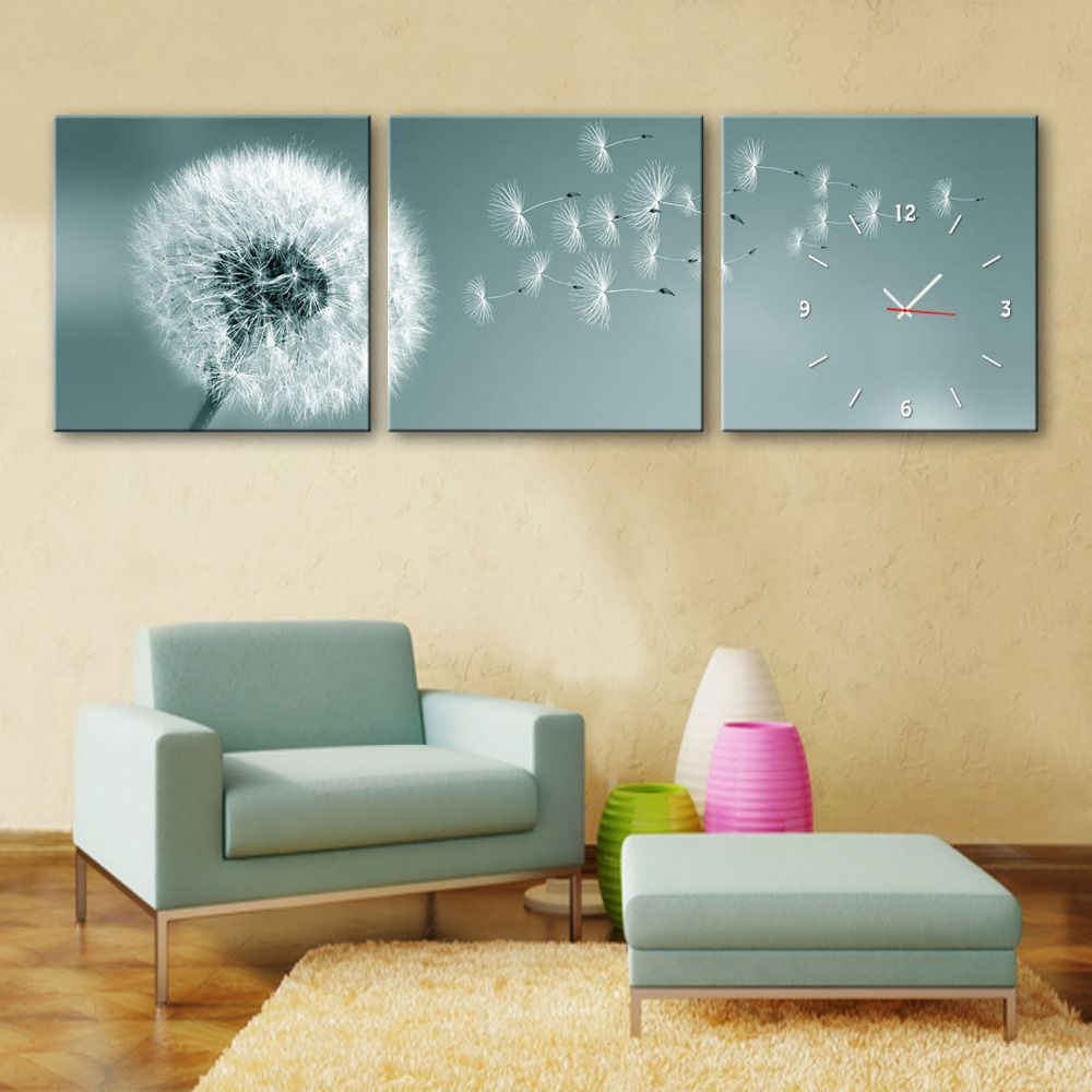 Free Shipping E-HOME Dandelion Flying In The Wind Clock in Canvas ...