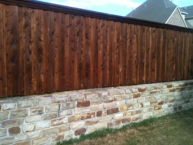 Stone Wall With Fence Top Connect Wood Fence Fence Design Landscaping Retaining Walls