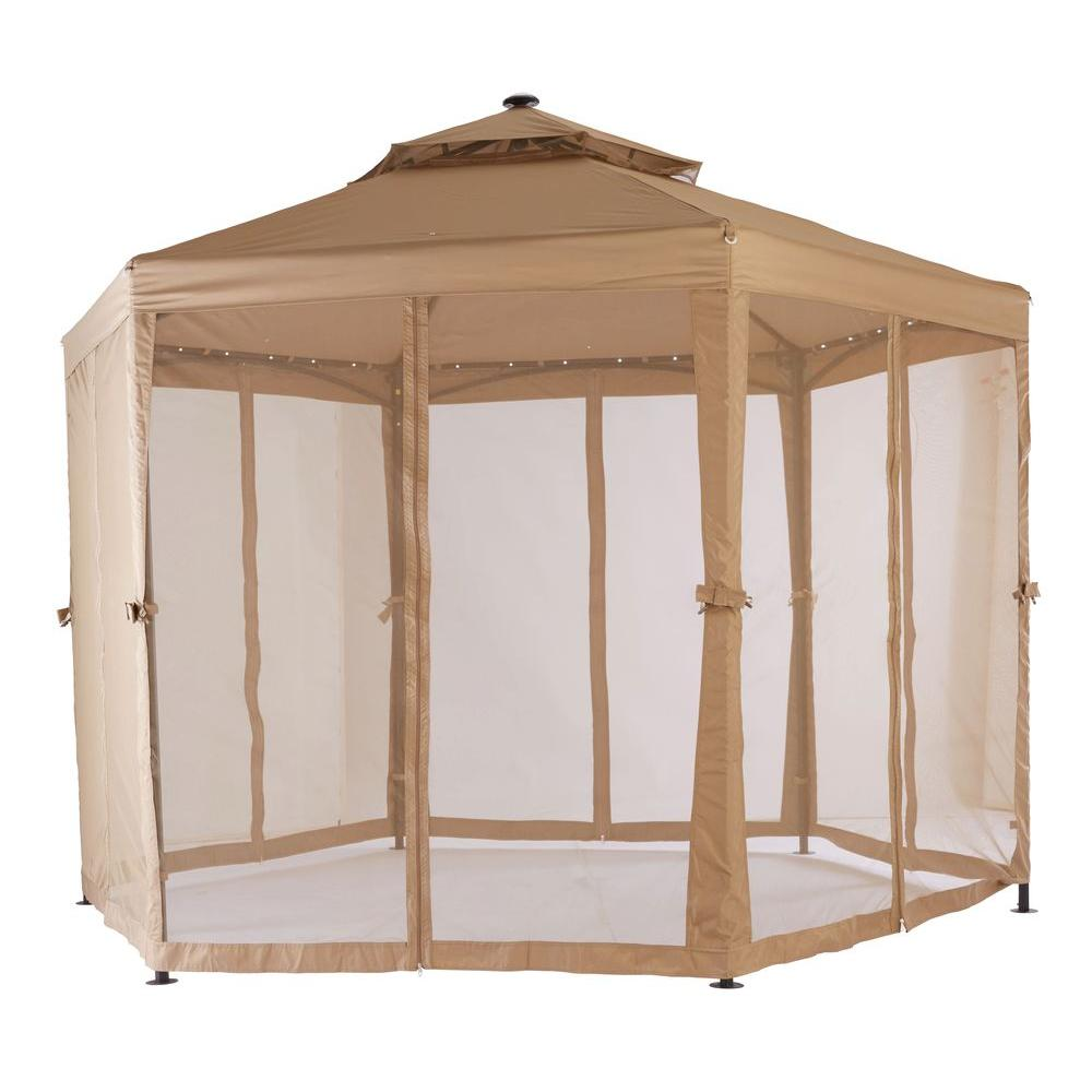 Royal Garden 10 Ft X 10 Ft Solar Led Lighted Gazebo Gfs00679b Gazebo Solar Led Outdoor Gazebos