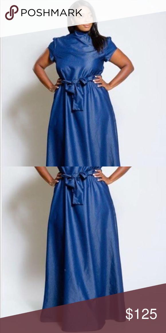 NWT blue denim maxi dress plus size fashion New classy denim maxi ...