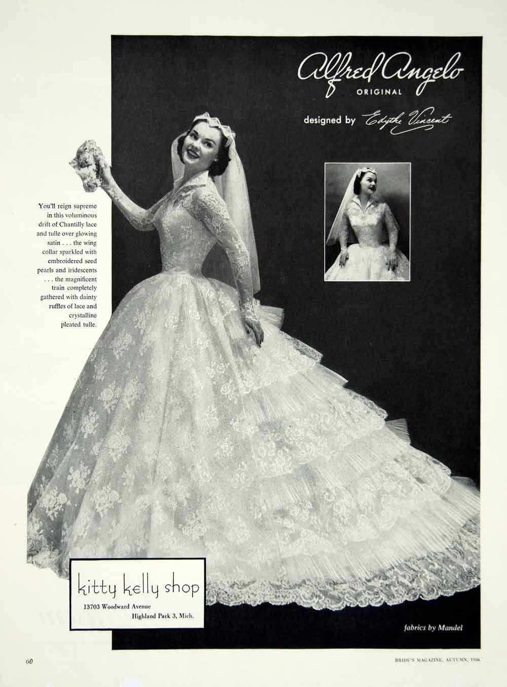 1956 Ad Alfred Angelo Vintage Wedding Dress Edythe Vincent