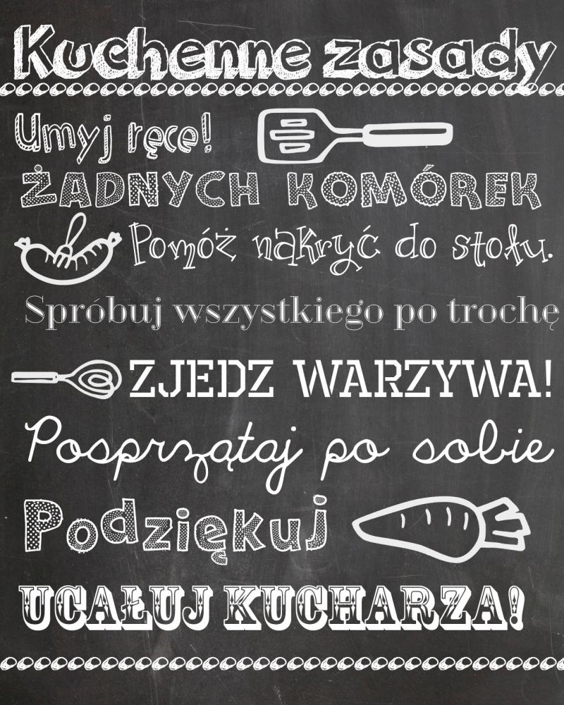 Kuchenne Zasady Darmowa Wersja Do Druku Words Prints Handmade Inspiration Kids Decor