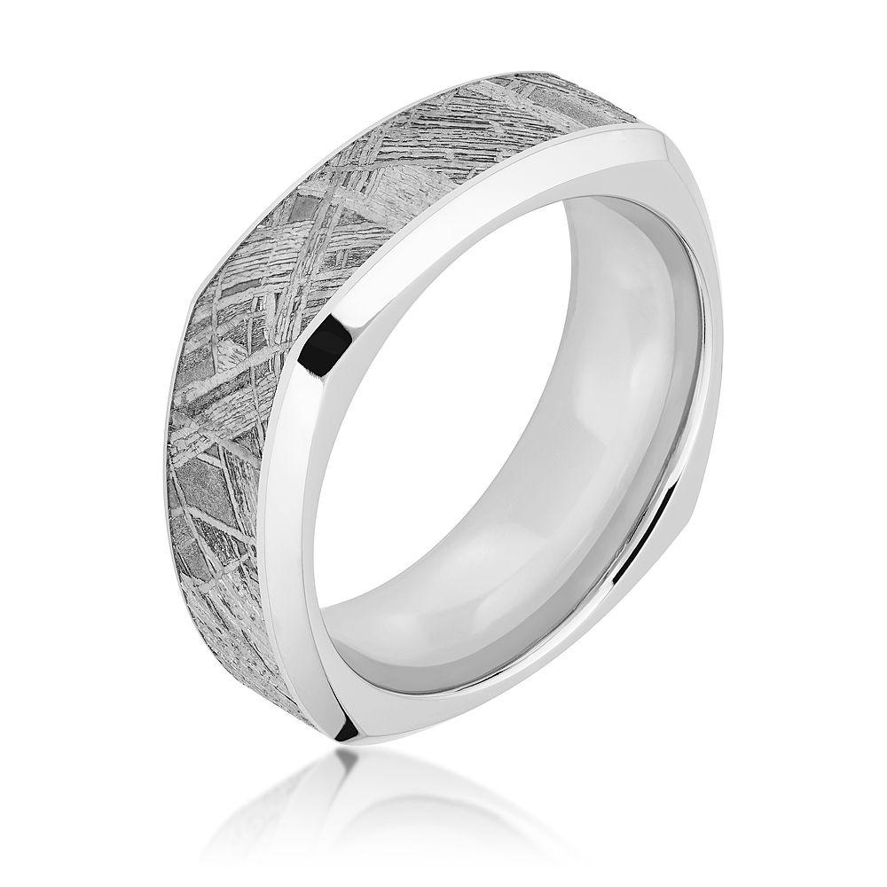cobalt meteorite square mens wedding ring | rings for him