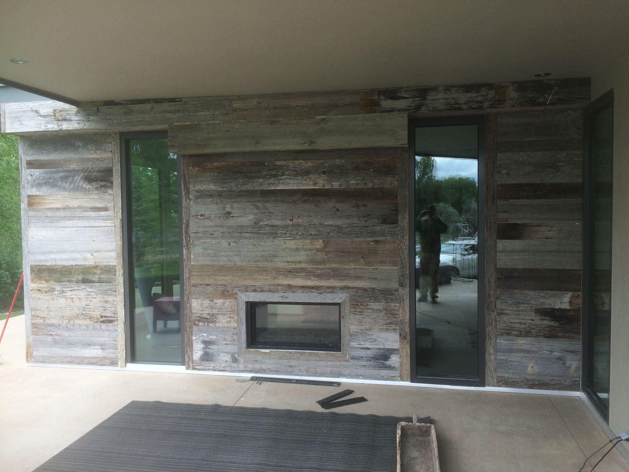 Thank You To Joe Buettgen Of Built Up Construction For Sharing Photos Of A Stunning Project He Installed Using Front Wood Accent Wall Hand Hewn Beams Barn Wood