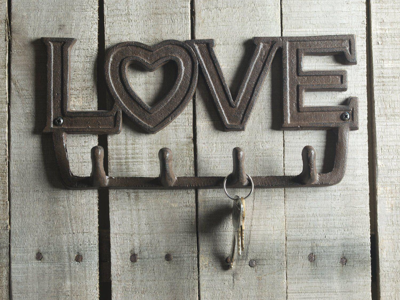 Love Antique Key Holder In Rust Brown