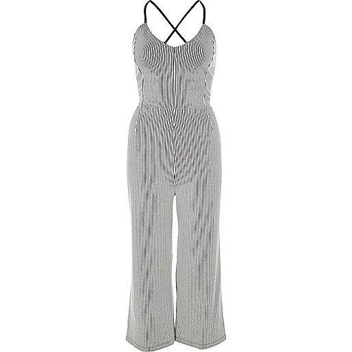 White stripe culotte jumpsuit - jumpsuits - playsuits / jumpsuits ...