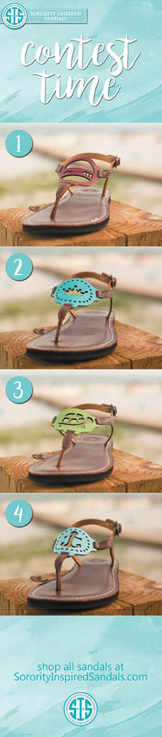 We're giving away a FREE pair of sorority sandals on our Facebook page. Like us there for contest details, you can also click here: https://www.facebook.com/sororityinspiredsandals/