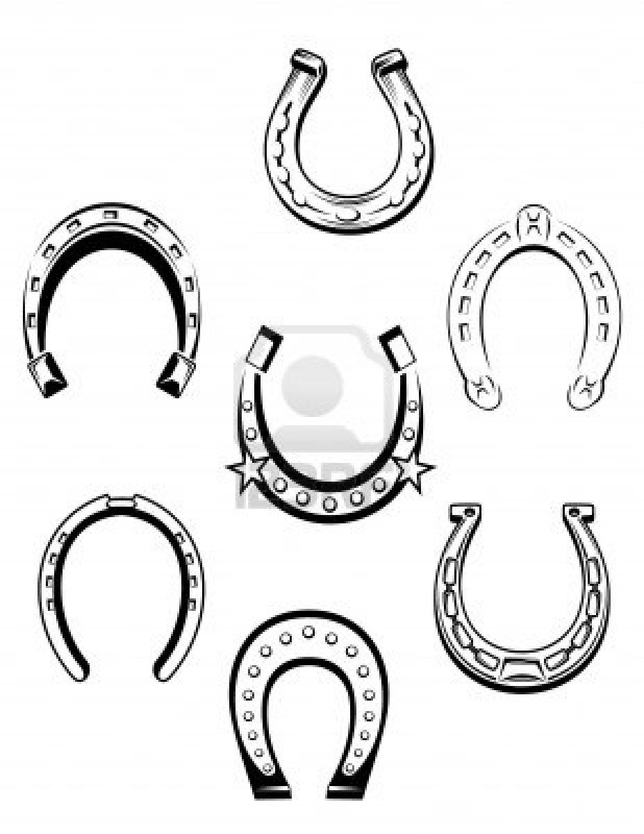 set of horseshoe icons and symbols for lucky concept design tattoo