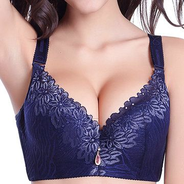 Sexy deep v breathable wireless lace trim full coverage bras
