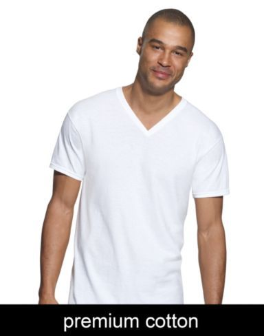 Hanes Mens White and Assorted V-Neck T-Shirts Hanes Men/'s Underwear