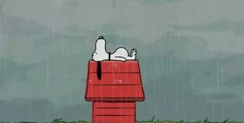 Snoopy On Dog House Snoopy Animated Gif Rainy Day