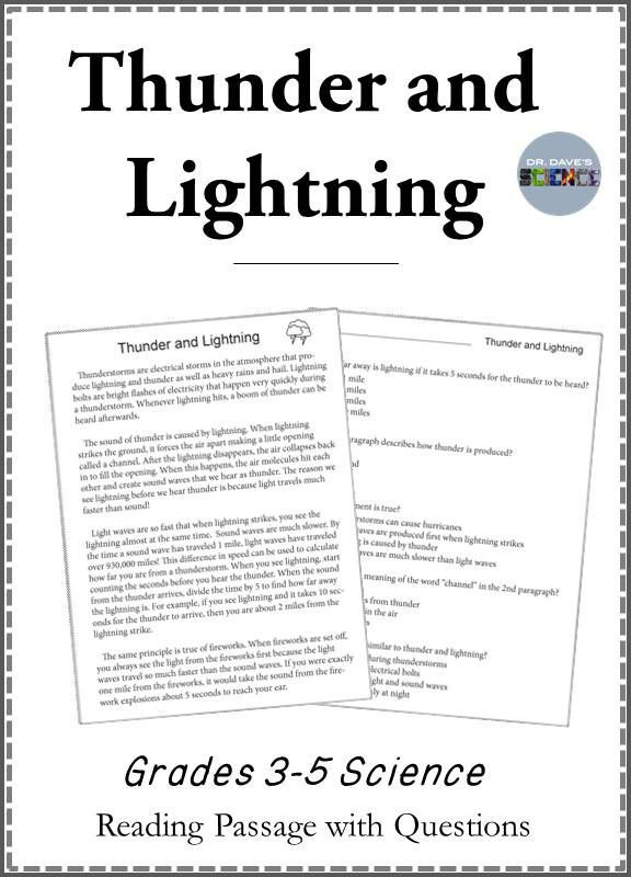 Thunder and Lightning Reading Comprehension and Graphing 4