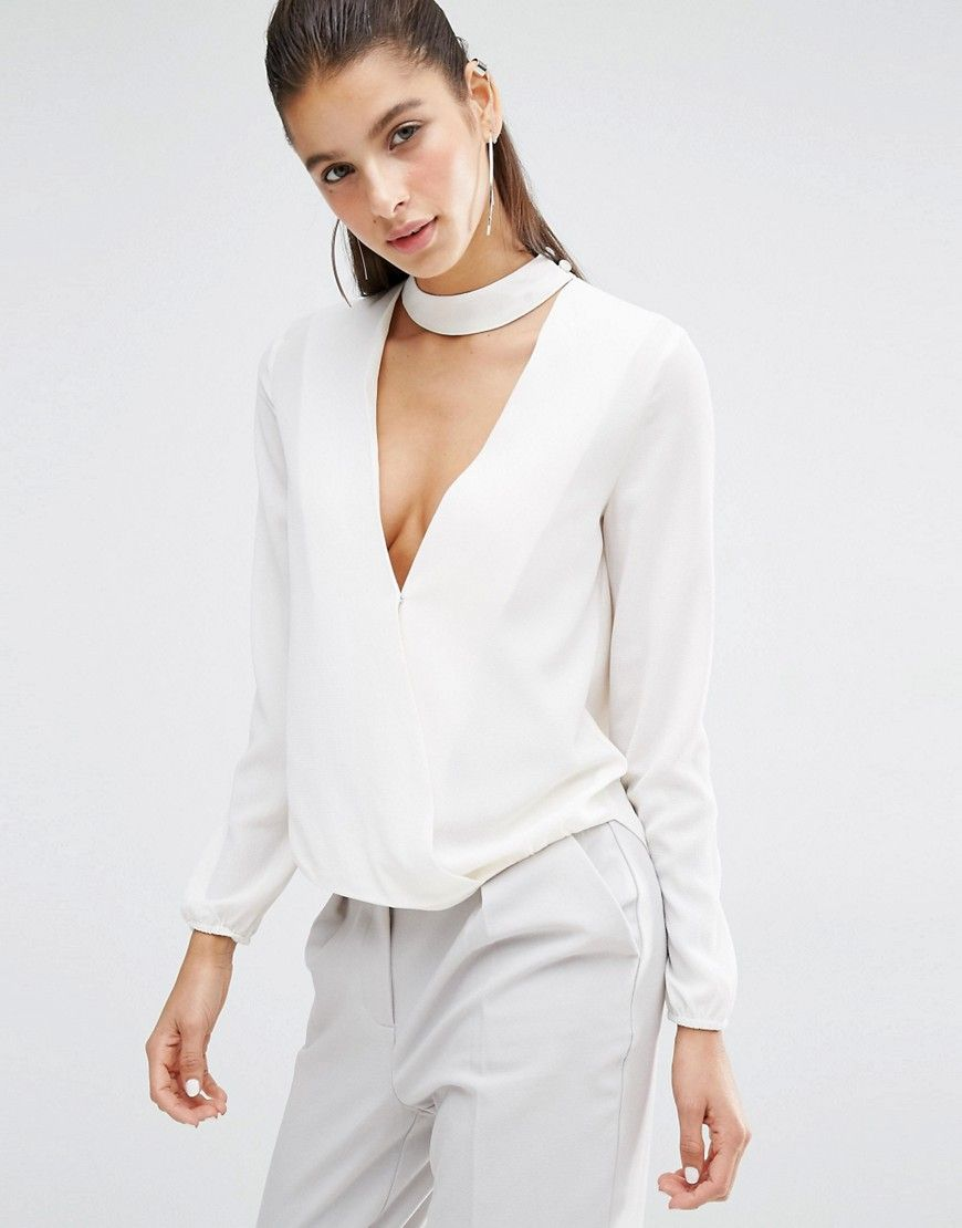 Parallel Lines V Neck Blouse With Choker Neck | Capsule ...