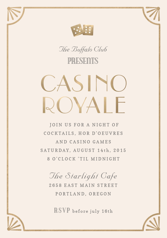 Casino Royale Invitations in Creme Casino royale Casino night and