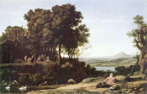 Landschaftsmalerei barock  Claude Lorrain. Landschaft mit Apollo, den Musen und einem ...