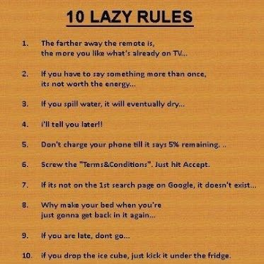 lazy people rules I do all of these.... Funny quotes