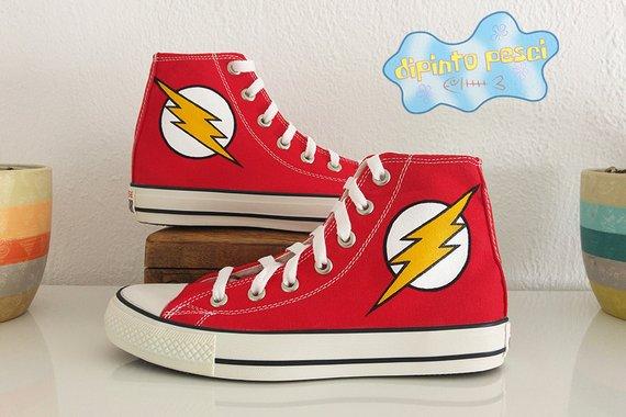 2cda9f1823cc The Flash Hand Painted Custom Shoes