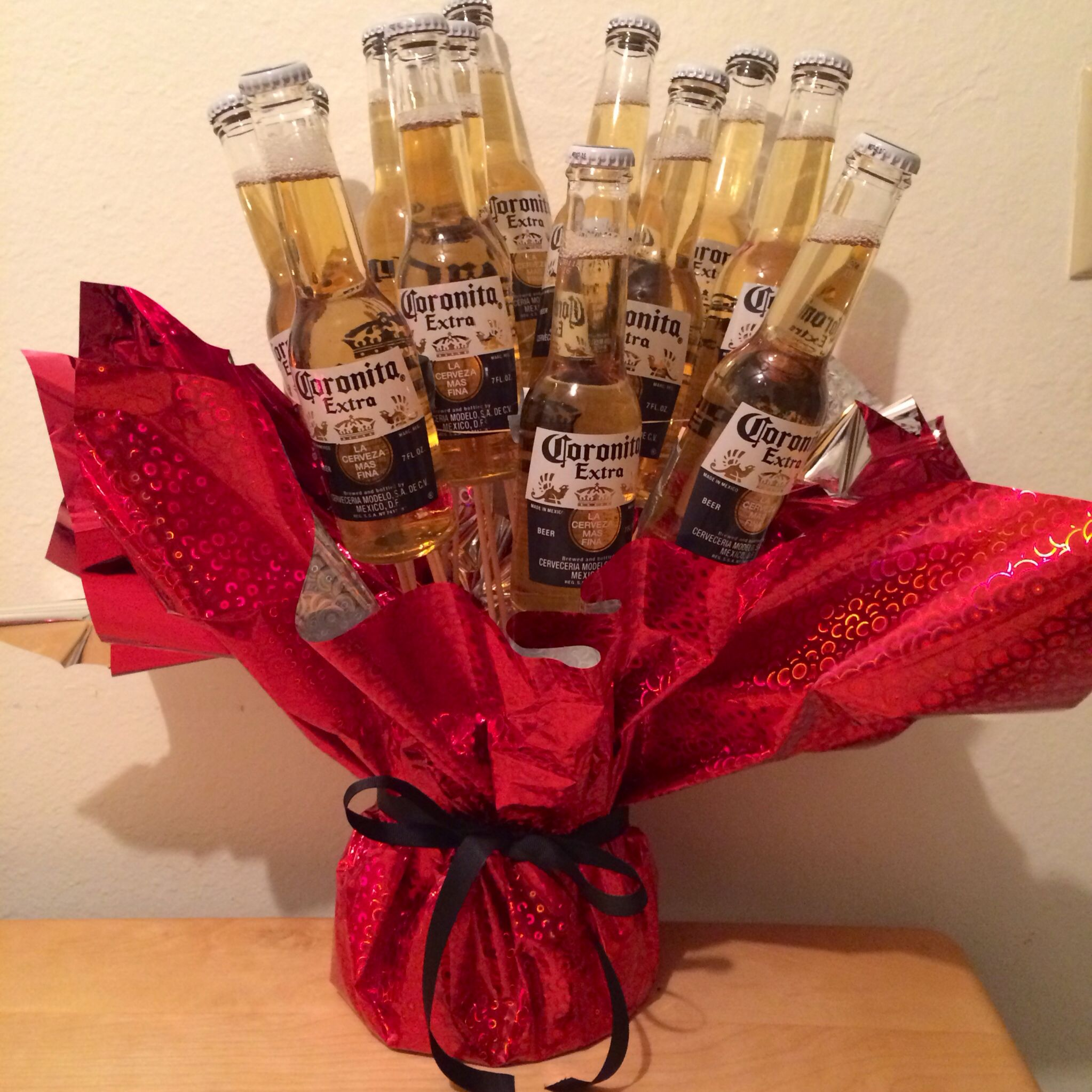 Made This Bouquet Of Beer For My Boyfriend For Valentines Day Valentines Beer Beer Bouquet Liquor Bouquet