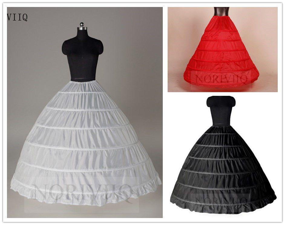 White 6-Hoop Wedding Ball Gown Crinoline Bridal Dress Petticoat Skirt Underskirt