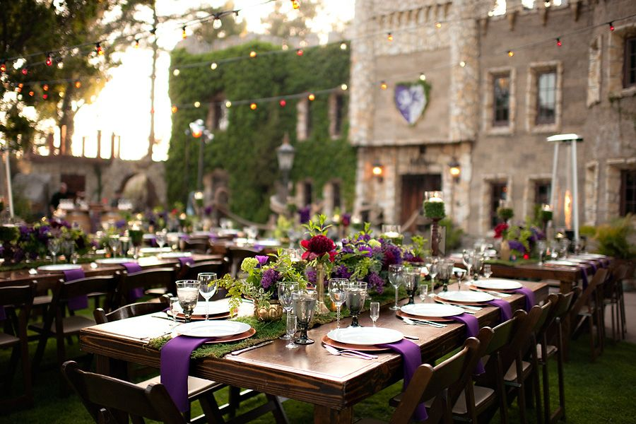 Again can we get a castle venue somewhere maybe a vineyard los angeles medieval wedding ideas held at hollywood castle and filled with red and purple wedding decor junglespirit Gallery