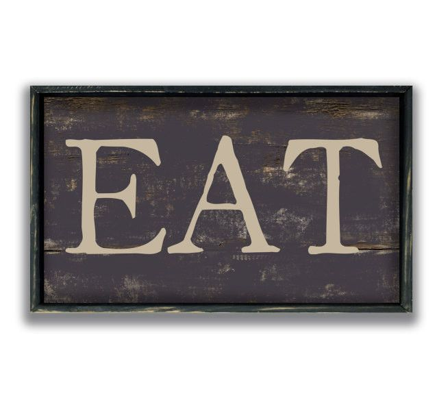 Kitchen Sign EAT Handmade Wooden Sign With Distressed Wooden Frame Amazing Decorative Kitchen Signs
